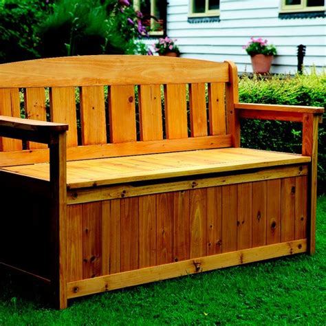outdoor wooden bench with storage garden storage bench from great little trading co