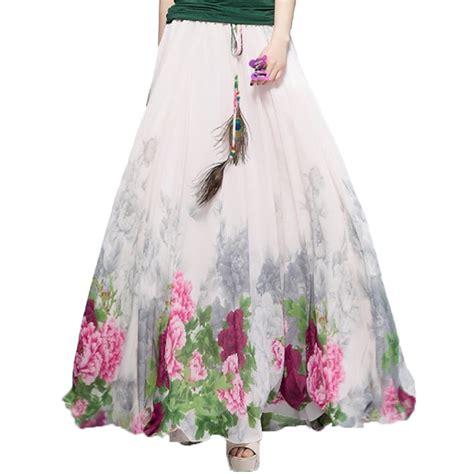 מוצר 2017 chiffon bohemian skirts womens summer aliexpress buy 2017 chiffon bohemian skirts womens summer harajuku print vintage