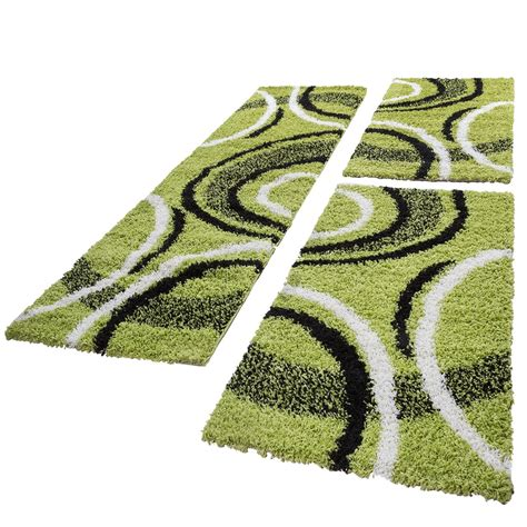 tappeti shaggy pelo lungo shaggy set tappeti guide pelo lungo 3 pz verde