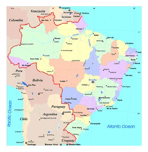 south america political map with major cities large political and administrative map of brazil with