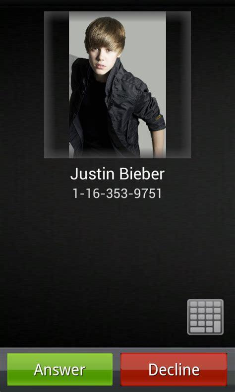 justin bieber real phone number call justin bieber for android call justin bieber 1 0 5