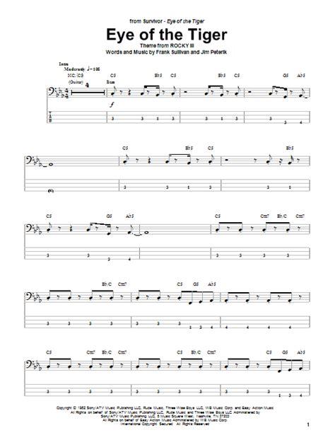 printable lyrics eye of the tiger eye of the tiger sheet music direct