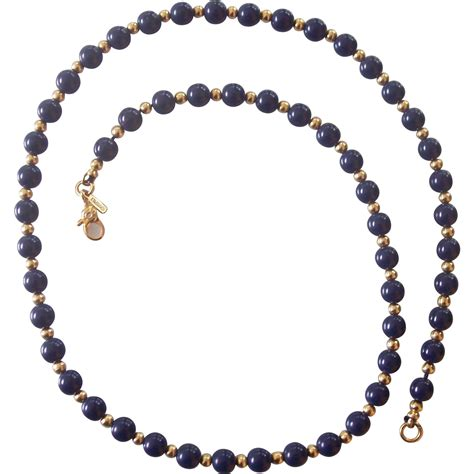 blue lapis bead necklace monet faux blue lapis gold tone bead necklace from