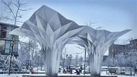 aufklappbarer pavillon origami pavilion creates shelter with 8 folded aluminum