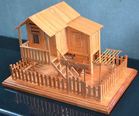 houseboat with icecream stick diy miniatur from ice cream stick quot umah dusun quot miniature