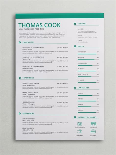 modern cv template docx green creative resume template