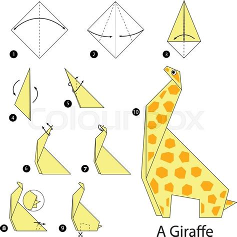 step by step how to make origami a giraffe