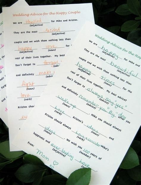 mad libs for wedding guests wedding mad lib guest book