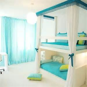 soft blue sheer curtain with amazing bunk beds for stylish teenage bedroom decor