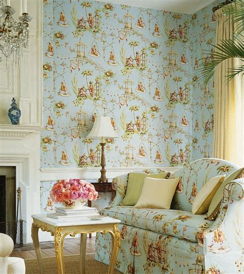 tapete englischer stil living room and powder room in country style