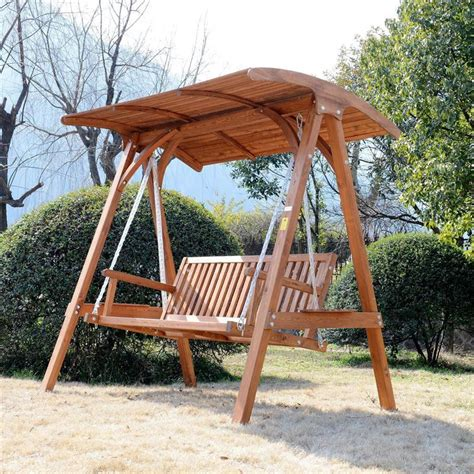 outdoor wooden swing outsunny deluxe 3 seat hardwood a frame patio swing aosom ca