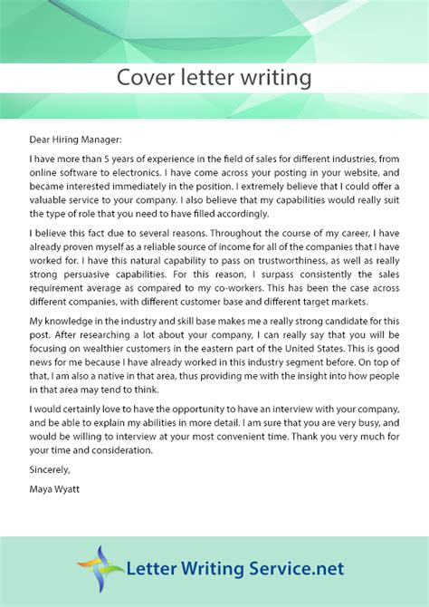 employment cover letter writing service