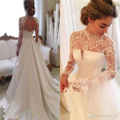 Discount 2017 Gorgeous Long Sleeve Wedding Dresses With Sheer Neck Jewel Sexy Open Back Bridal