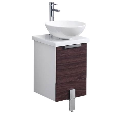 vessel sink vanity home depot fresca adour 16 in bath vanity in dark walnut with