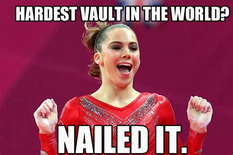 Gymnast Meme - mckayla maroney hardest vault in the world nailed it