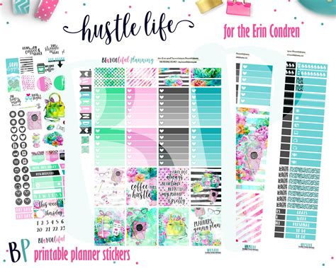 printable life planner stickers hustle life planner stickers weekly printable for