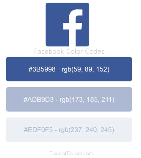 Facebook Colors - Hex and RGB Color Codes Facebook Blue Color