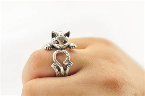 cat ring in sterling 990 silver with different jewels