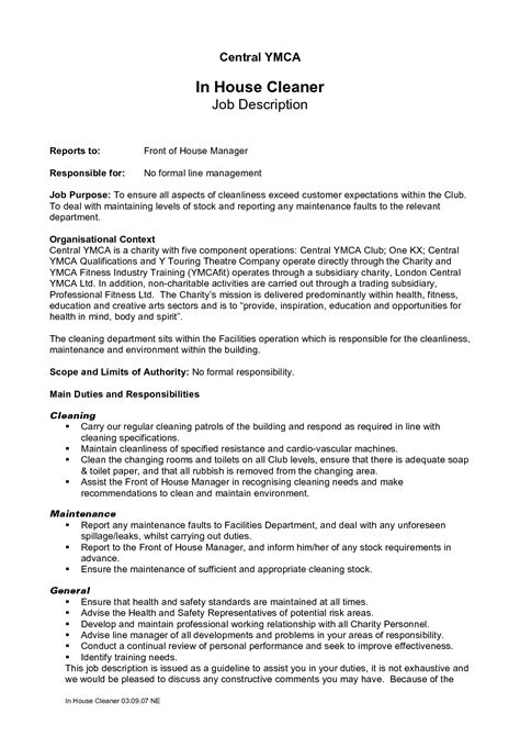 Cleaning Job Description For Resume Resume Ideas Janitorial Description Template