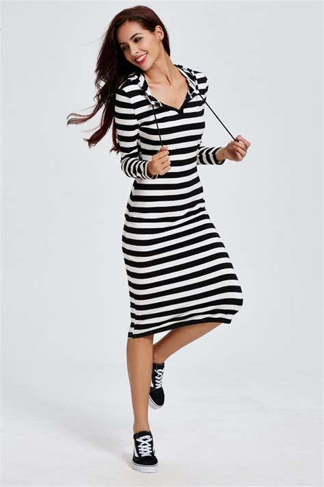 21898 Black Korean Stripe Dress wholesale korean casual dresses black mid waist