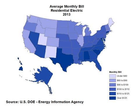 average electricity bill per month average monthly electrical bill by state updated data