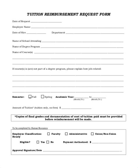 Sle Tuition Reimbursement Form 8 Free Documents In Pdf Tuition Contract Template