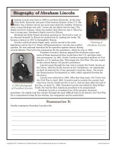 Biography Of Abraham Lincoln Worksheet Answers | abraham lincoln 7th grade reading comprehension worksheet