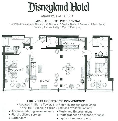 disneyland hotel 2 bedroom suite layout disneyland hotel presidential suite floorplan