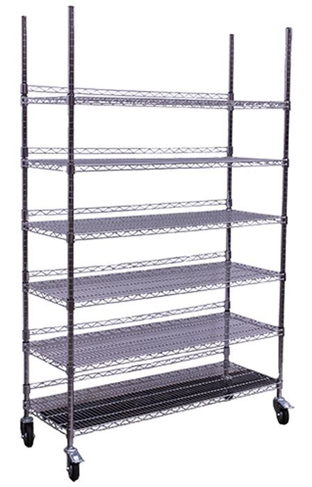 Chrome Storage Rack by Hydro Flow Commercial Grade Chrome Storage Rack 6 Shelves With Backstop Casters