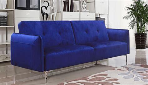 cobalt blue sofa arie tufted fabric sofa bed with chrome legs cobalt blue