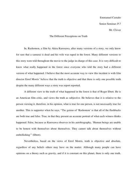 Rashomon Essay by Rashomon Essay