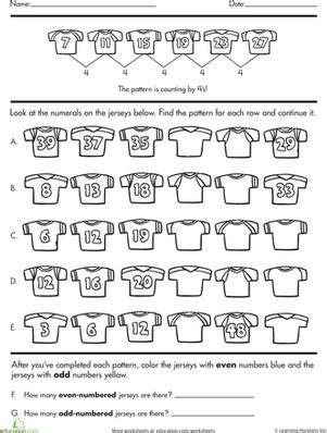 pattern challenge worksheet number sense complete the pattern multiplication