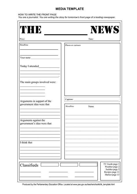 Newspaper Template For Pages free tag template newspaper front page template doc