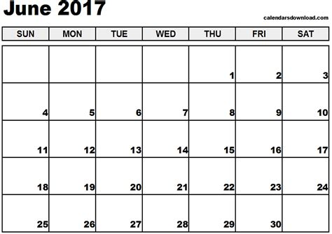 printable monthly calendars for 2017 june 2017 calendar