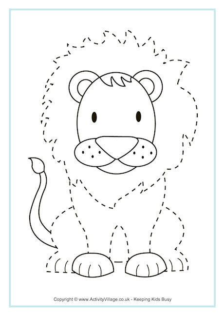 Christmas Crafts With Children - lion tracing page