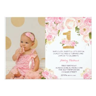 1st year birthday card template 1st birthday invitations zazzle