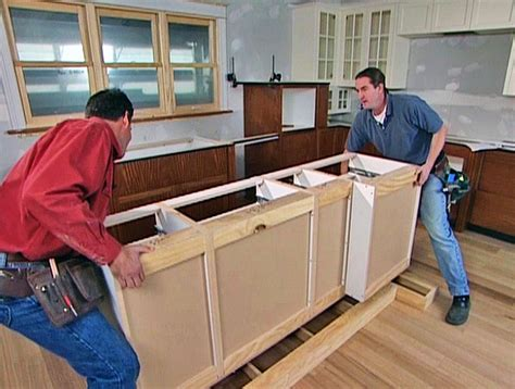 Installing Kitchen Island | diy kitchen cabinet ideas projects diy