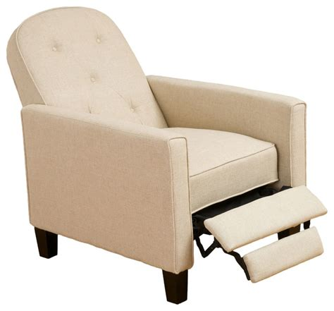 Modern Recliner Chairs by Miller Beige Fabric Recliner Chair Transitional