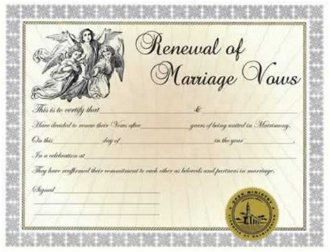 sle of marriage vows certificates renewal of vows certificate minister