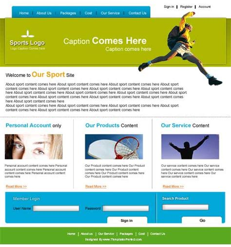 17 free sports templates psd images free website