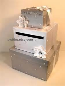 etsy wedding card box silver and white wedding card box gift card box by