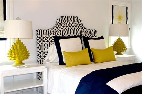 Grey Bedroom With Navy Accents Color Scheme Yellow And Navy Blue Eclectic Living Home