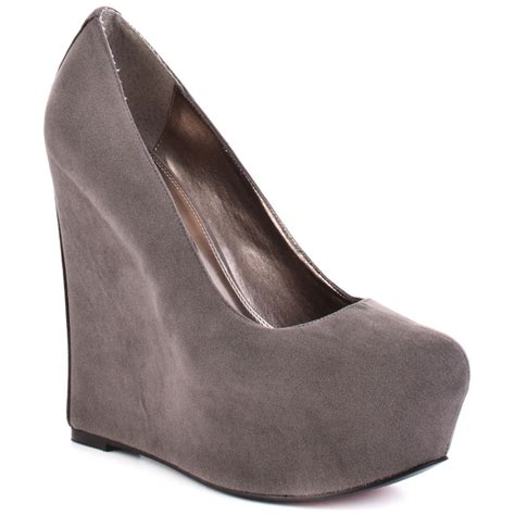 luichiny s grey sur fer wedge grey suede for 89 99