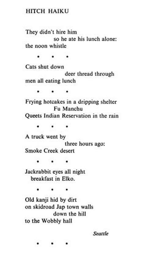 Gary Snyder, Hitch Haiku, from The Back Country + Haiku