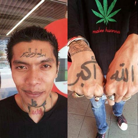 tattoo on muslim man tattoed his face and body with islamic words