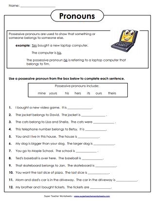 Pronoun Worksheets Cabinet In A Sentence