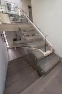 glass landing banister best 25 glass stair railing ideas on glass