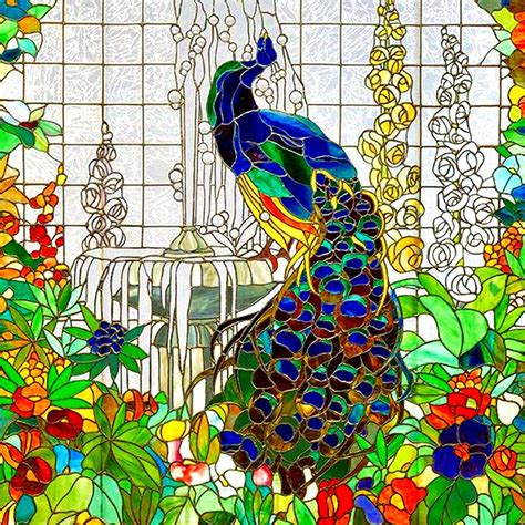 peacock stained glass digital by marianne dow