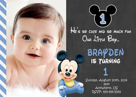 Free Printable Mickey Mouse 1st Birthday Invitations Template Free Invitation Templates Drevio 1st Birthday Invitation Template