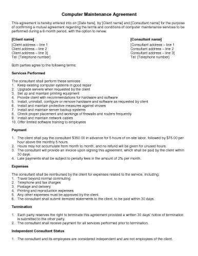 computer repair service agreement template 31 sle agreement templates in microsoft word